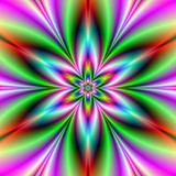 Six Petaled Star Flower / A digital abstract fractal design with a star flower design in green, pink, turquoise and violet. - 133568563