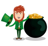 saint patrick day leprechaun character vector illustration design