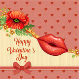 Valentines card with beautiful glossy female lips and poppies