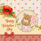 Valentines day card with teddy bear in love and  poppies