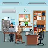 people workplace with desk bookshelf cabinet clock table potted plant board vector illustration eps 10