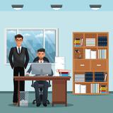 men office place working desk furniture books trash can vector illustration eps 10