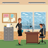 women workspace office desk chair cabinet board notice window vector illustration