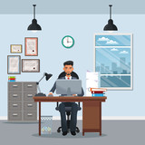 man sitting workplace cabinet file desk laptop window clock vector illustration eps 10