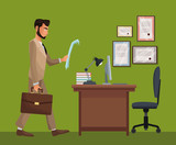man standing office space desk chair diploma vector illustration eps 10