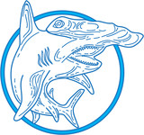 Hammerhead Shark Circle Mono Line