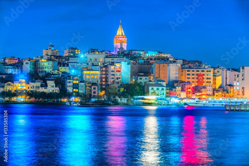Istanbul at sunset - Galata district, Turkey Poster