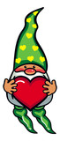 Cute gnome in long hat holding heart. Vector clip art.