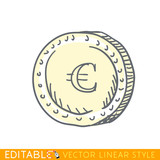 Euro. Doodle style international currency symbol coins. Editable line drawing. Stock vector illustration.
