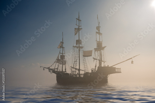 Foto op Aluminium Schipbreuk Ghost pirate ship in the fog