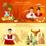 Welcome to Spain banner. Traditions and culture spanish attractio