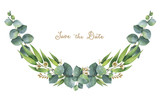 Watercolor wreath with green eucalyptus leaves and branches. - 133600760