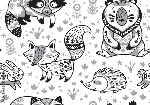 Cotton fabric Woodland animals seamless pattern in monochrome