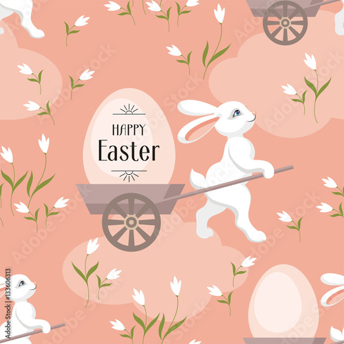 Cotton fabric Happy Easter seamless pattern. The image of Easter eggs and white rabbits on a pink background. Vector illustration.