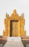 Old wooden door with carved ornament, Myanmar (Burma)