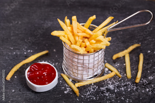 Poster French fries with ketchup