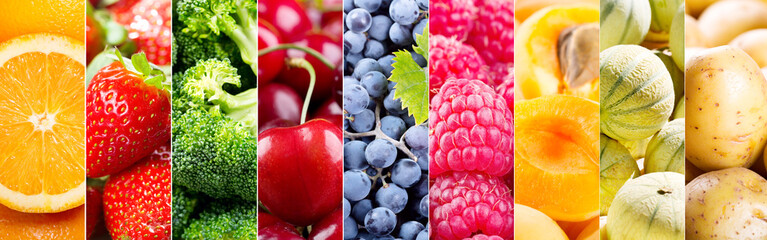 collage of fresh fruits and vegetables © Nitr