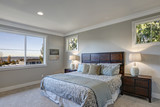 Gray bedroom design with queen size bed