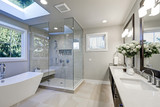Spacious bathroom in gray tones with heated floors - 133612723