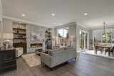 Chic living room interior in gray colors - 133612751