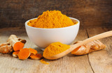 Turmeric roots with turmeric powder - 133612976