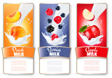 Set of three labels of fruit and berries in milk splashes. Apric