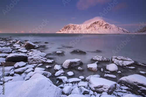 Alpenglow at Skagsanden beach on the Lofoten, Norway плакат