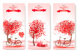 Three valentines day banners with pink trees and hearts. Vector