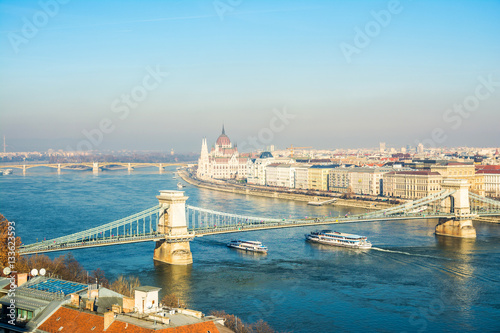 Poster panoramic views to Budapest city, hungary