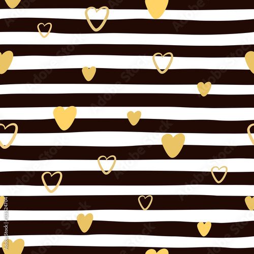 Cotton fabric Seamless hand drawnl striped pattern with golden hearts