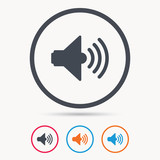 Sound icon. Music dynamic symbol. Colored circle buttons with flat web icon. Vector