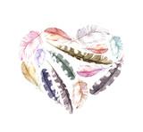 Retro heart - bird feathers. Vintage watercolor