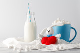 Breakfast for kid. Mini marshmallow and milk