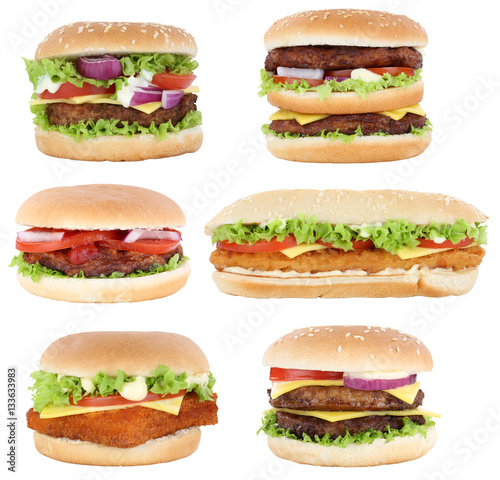 Hamburger Sammlung Collage Cheeseburger Burger Käse Tomaten Sal