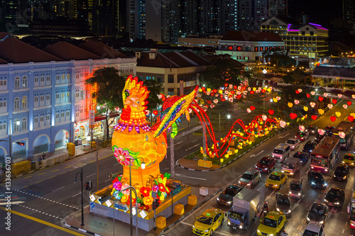Poster Singapore Chinatown Chinese New Year 2017 Night Scene