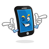 funky smartphone character, vector of cellphone mascot, mobile phone cartoon