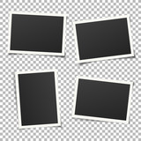 Fototapety Collection of vintage photo frames. Old photo frame with transparent shadow on background. Vector illustration for your photos. Decorative vector template can be use for pictures or memories.
