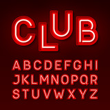 Broadway night club vintage style neon font, red