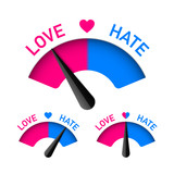 Love and Hate meter, Valentines Day design element