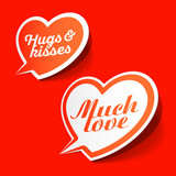 Much love and hugs  kisses speech bubbles, Happy Valentines Day celebration design element