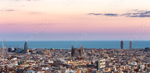 Poster Sagrada Familia and panorama view of barcelona city,Spain