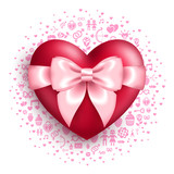 Glossy red heart with pink bow with love symbols