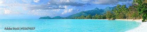 Beautiful tropical Thailand island panoramic with beach, white sea and coconut palms for holiday vacation background concept - 133674557