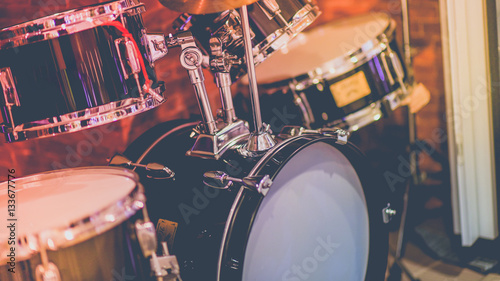 Drum is a part of the music instruments band. (Vintage Style)