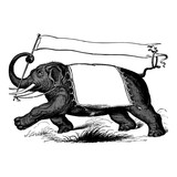Elephant carrying a banner, vintage engraving