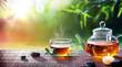Teatime - Relax With Hot Tea In Zen Garden