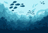 coral reef and sea creatures