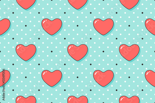 Cotton fabric Seamless pattern with red hearts for Valentine Day, Lovers Day or wedding. Hand drawn design for love related themes for wrapping paper, wallpaper, background, greeting card. Vector Illustration