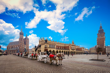 Main square in old city of Krakow, Poland