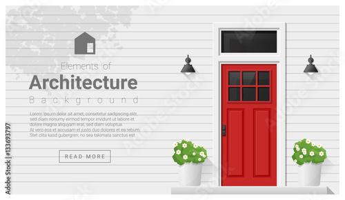 Sticker Elements of architecture , front door background , vector ,illustration